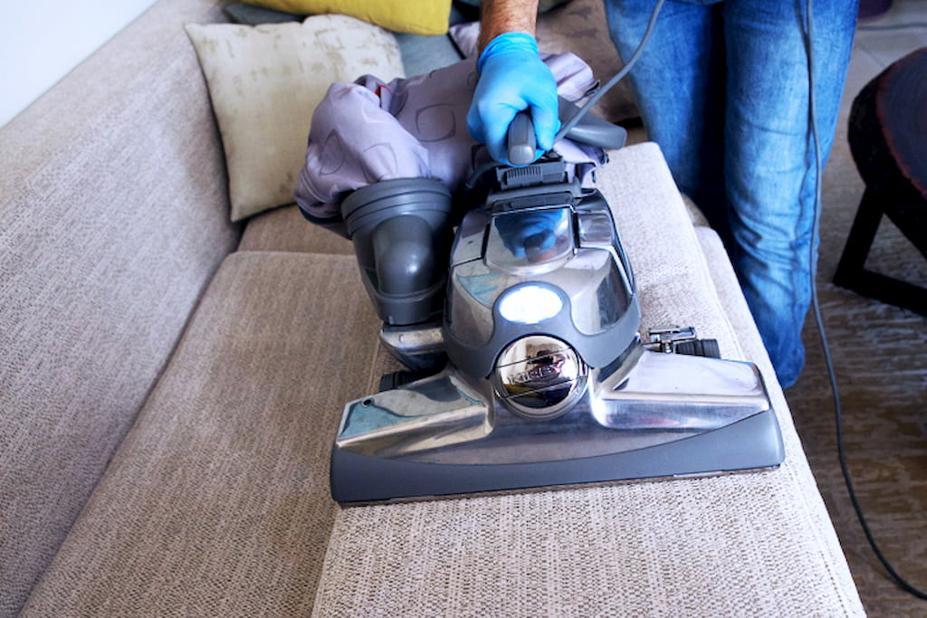 cleaning sofa by vacuum